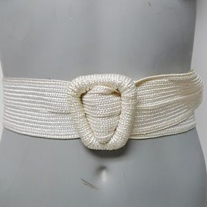 triangle covered buckle elastic white wide belt